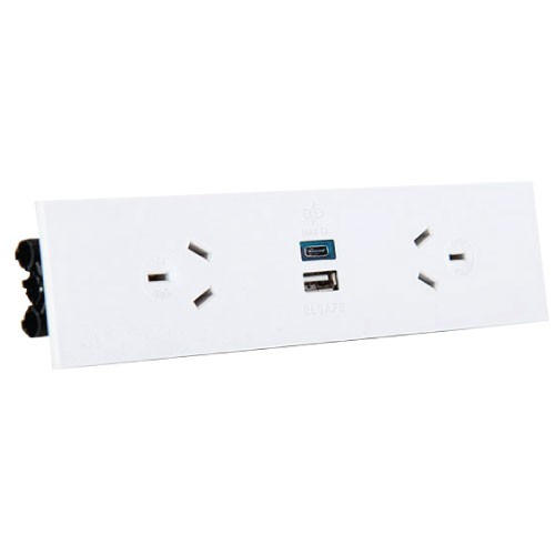 Quick Fit Auto Switched  Outlet with USB (White)