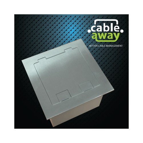 Floor Outlet Box 2 Power Stainless Steel Flush Square Edge 145 Series
