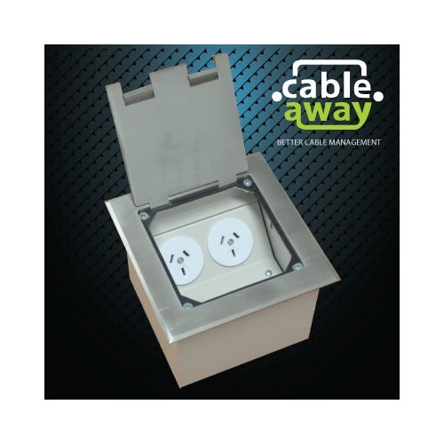 Floor Outlet Box 2 Power Stainless Steel Flush 145 Series