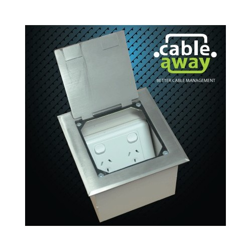 Floor Outlet Box 1 Standard GPO Stainless Steel Flush 145 Series