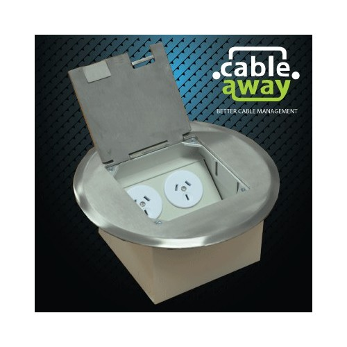 Floor Outlet Box 2 Power Stainless Steel Round Flush 145 Series