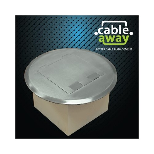 Floor Outlet Box 1 Standard GPO Round Stainless Steel Flush lid 145 Series