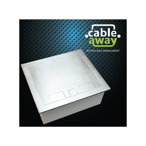 4 Power Stainless Steel Square Edge Flush Floor Outlet Box