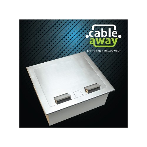 2 Power Stainless Steel Square Edge Flush Floor Outlet Box