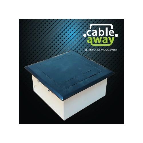 Shallow Floor Outlet Box 2 Power Stainless Steel Black Flush 145 Series