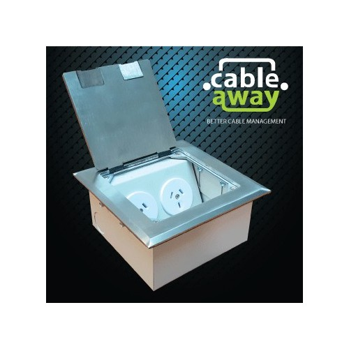 Shallow Floor Outlet Box 2 Power Stainless Steel Flush 145 Series