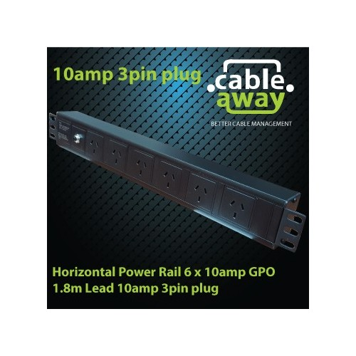 Horizontal Power Rail 6 x 10amp GPO 1.8m Lead 10amp 3pin plug