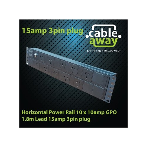 Horizontal Power Rail 10 x 10amp GPO 1.8m Lead 15amp 3pin plug