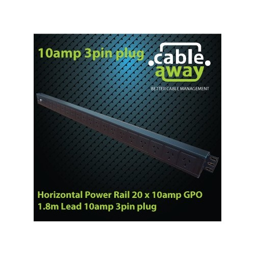Vertical Power Rail 20 x 10amp GPO 1.8m Lead 10amp 3pin plug